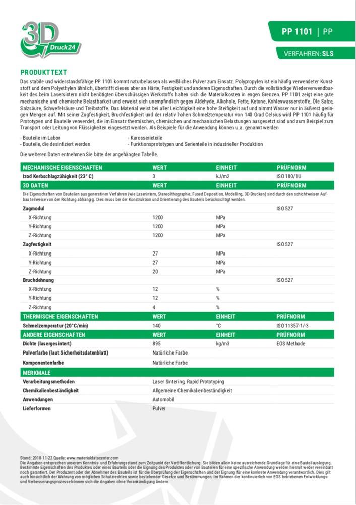 PP 1101 Materialdatenblatt